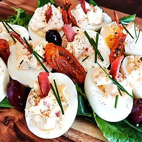 Loaded devilled eggs
