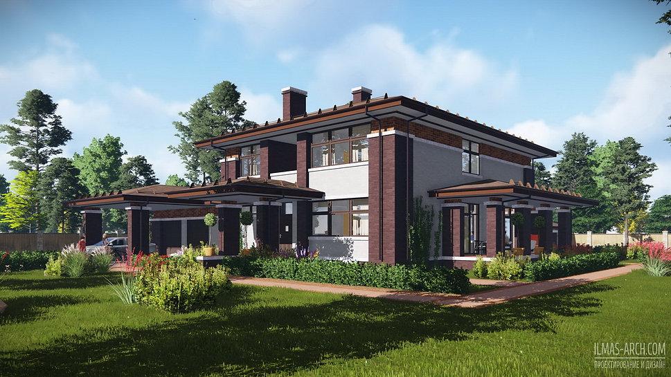 Проект дома в стиле Райта прерий г.Москва