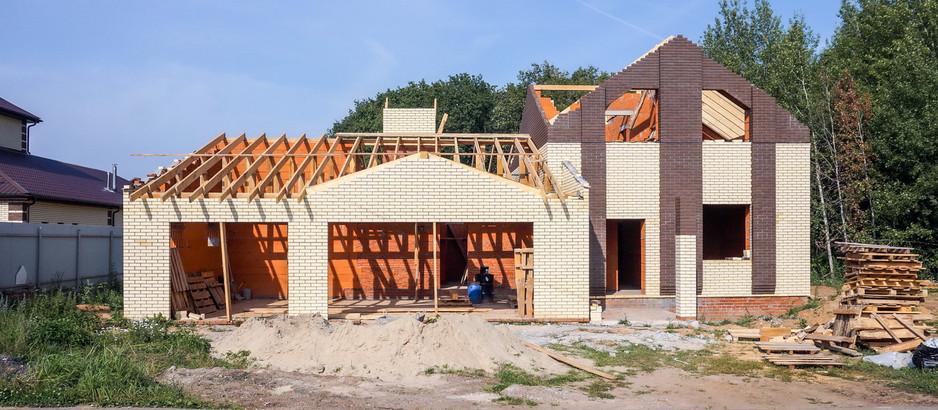 Строительства дома, этап возведения конструкций кровли Высокогорский район, РТ.