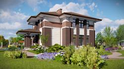 Проект 2 этажного дома в стиле Райта