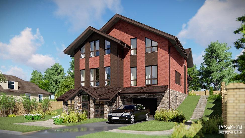 Проект двухэтажногозагородного дома площадью 170 кв.м на узком участке