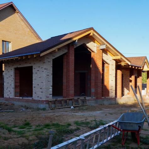 Фото отчет строительства банного комплекса в стиле Шале