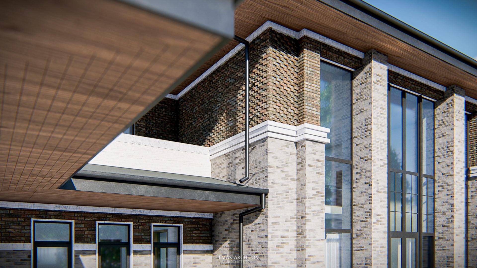 Уровень детализации проекта можно рассмотреть на данном фрагменте фасада