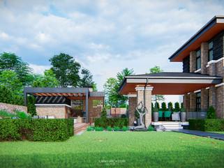 Дизайн летней зоны отдыха на участке с домом в стиле прерий