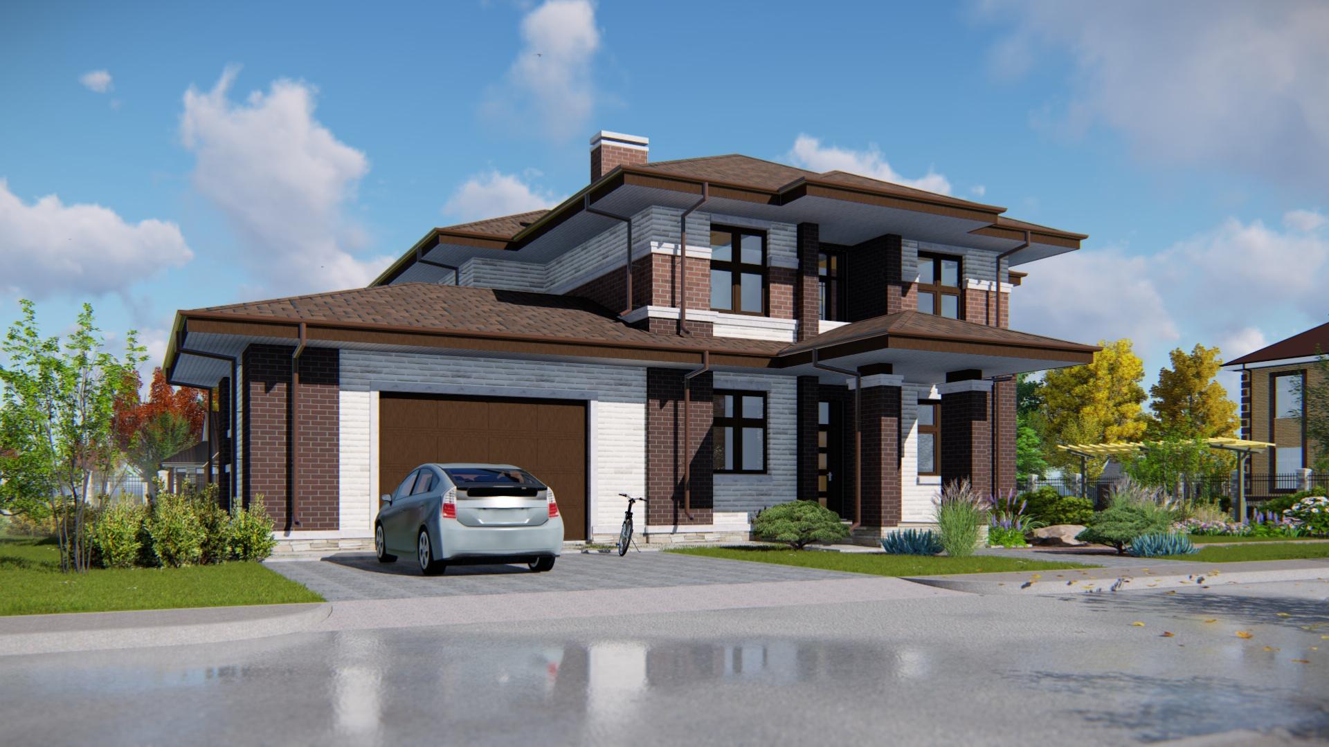 Дом в стиле райта с гаражом