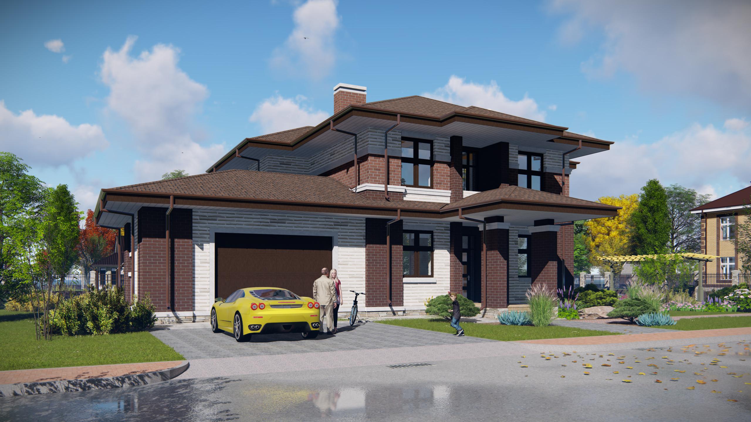 Проект дома в стиле Райта с гаражом