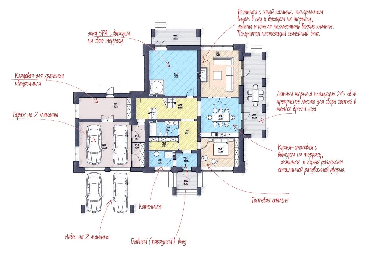 план дома в стиле райта
