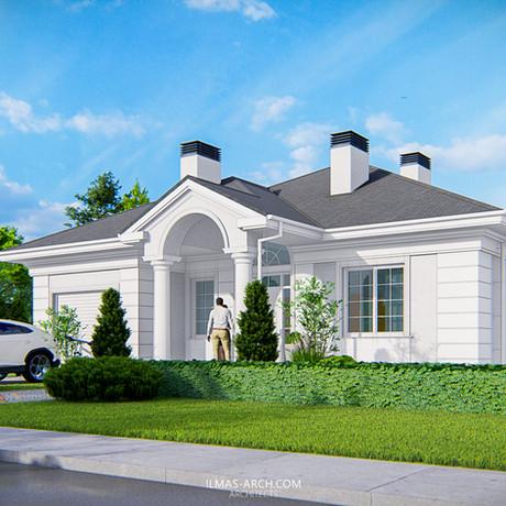 Одноэтажный загородный дом с гаражом на 200 кв.м