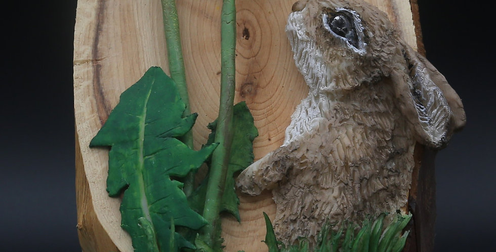 Bunny/Rabbit andDandelion 3D Plaque/Wall Art