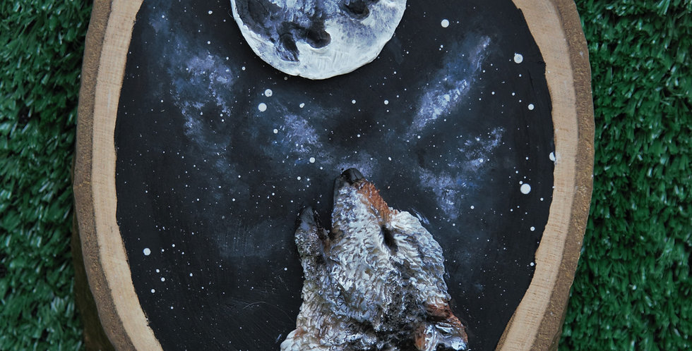 Moon Gazing Wolf - SOLD