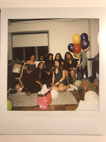 A picture of a polaroid of Sarina Rahman and friends.