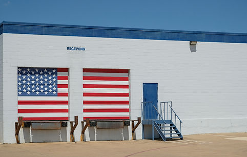 Warehouse with american flag painted rec