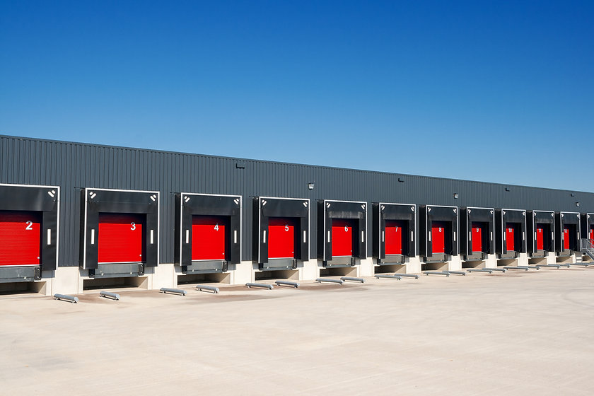 Row of loading docks with shutter doors