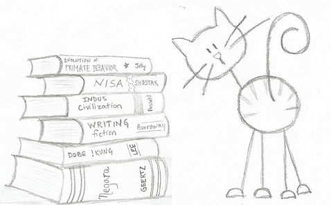 A peach-colored kitty stands next to a stack of college textbooks wondering what good is fiction?