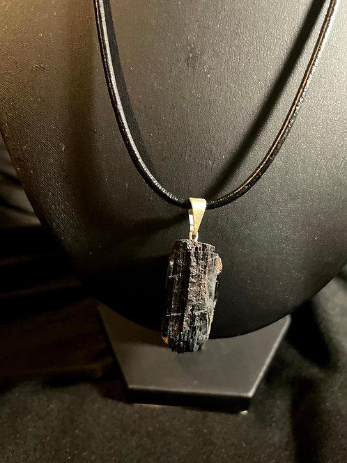 Black Tourmaline Necklace (Leather)
