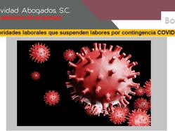 Autoridades que suspenden labores por contingencia COVID-19