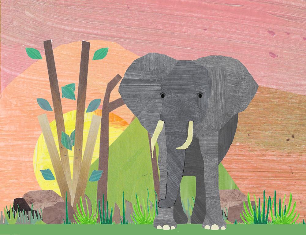 Illustration of an elephant under the sun