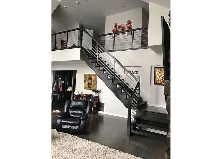 Custom Oak Interior Staircase, Oak Interior Railing, Horizontal Stainless Steel Rods, Indoor Railing Renovation