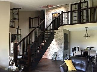 Maple indoor railing custom vertical spindles