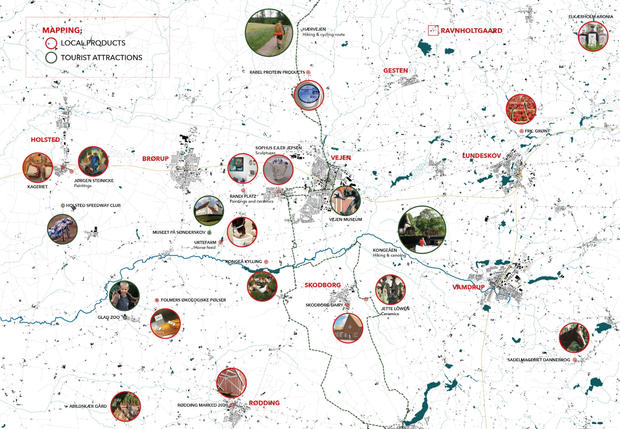 Strategical spatial mapping of potential local partners related to food production, local market activities and tourism.