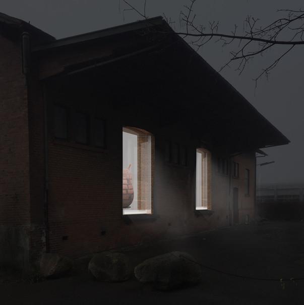 Rendering | Sculpture vitrine in abandoned buildings