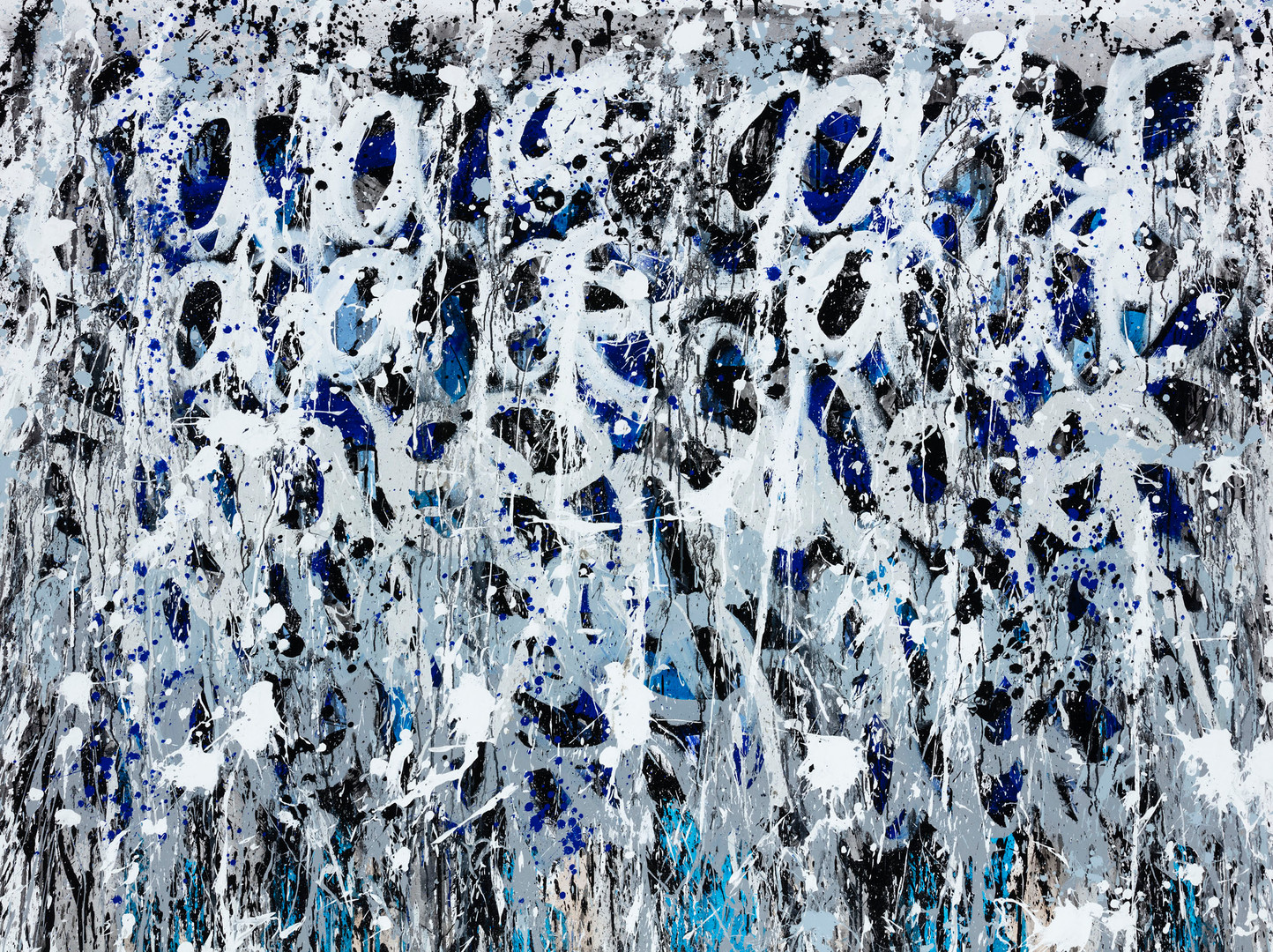2021-Bleu Clouds, acrylique et encre sur