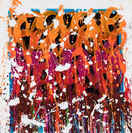 2021-Flowers In The Winter, acrylique et encre sur toile, 100 x 100 cm_JonOne_2021_Repro_0