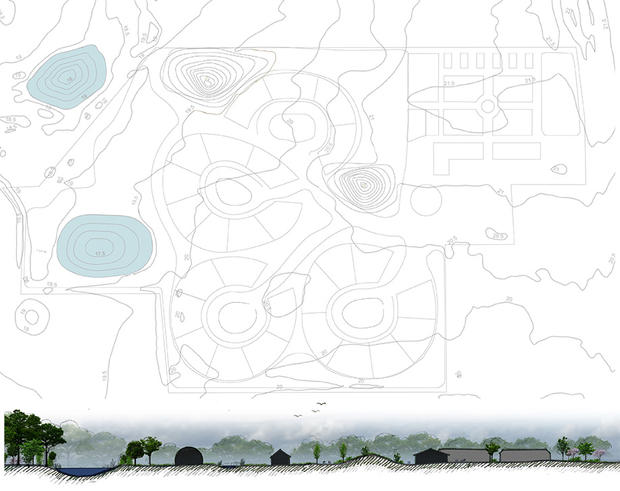 Terrain and section cut | Drawing by Rural Agentur