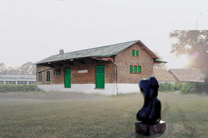 Collage | Former storage building. Sculpture by Prince Henrik