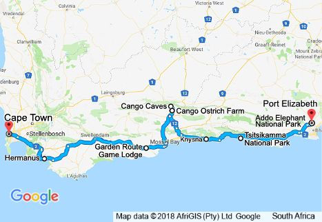 7 Day Garden Route Tour Map