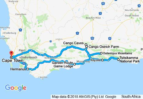 4 Day Garden Route Tour Map