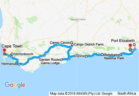 6 Day Garden Route Tour Map