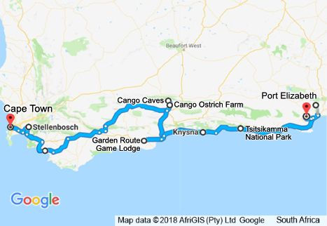 5 Day Garden Route Tour Map