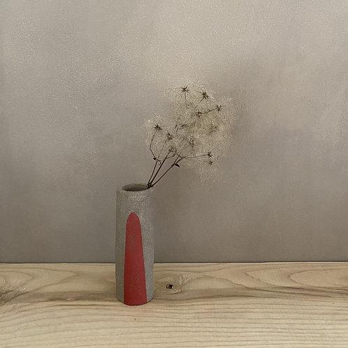 Decorated hand-built bud vase