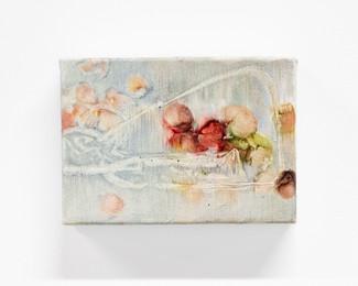 "Apple tea, 2021, 5"" x 7"", oil on canvas"