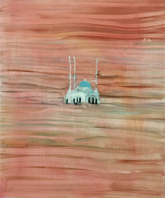 "Shutterstock Beirut, 24"" x 20"", oil on canvas"