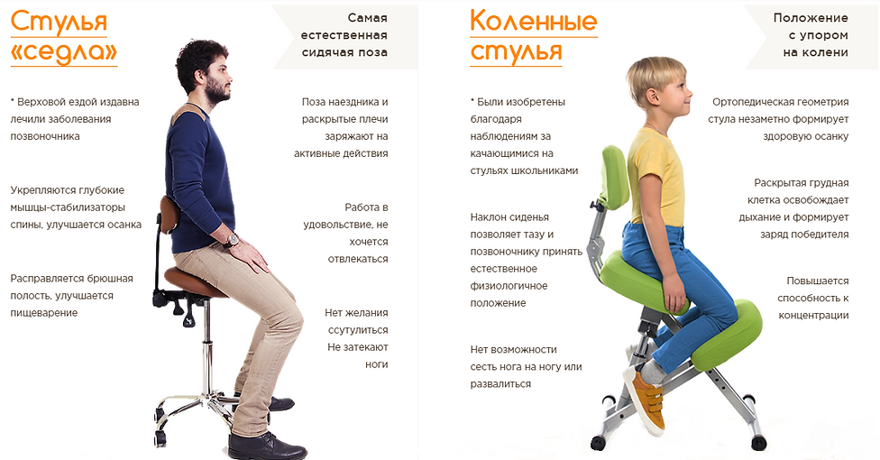 Коленный стулья и стулья седла