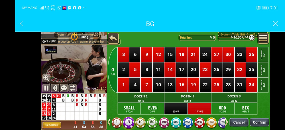 Roulette BG Live Casino Big Gaming