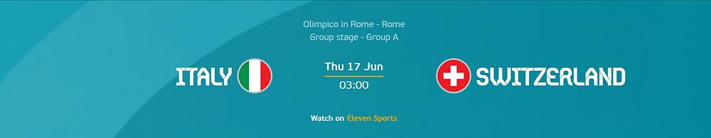 UEFA EURO 2020 Winbox Sports Betting  Italy VS Switzerland