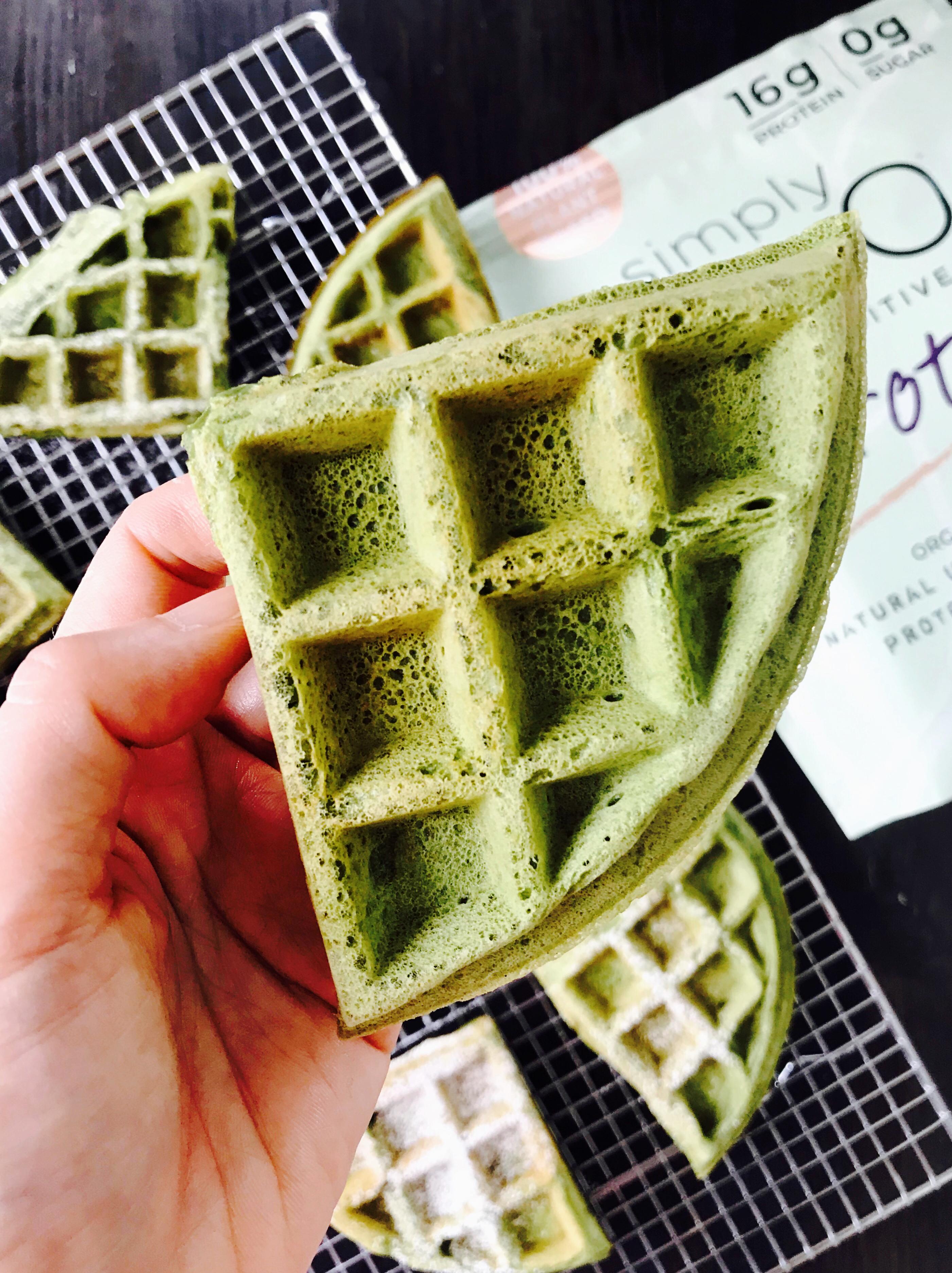 Fluffy Matcha Waffles