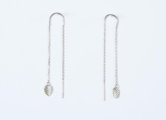 Boucles d'Oreille Barre & Mini Feuille