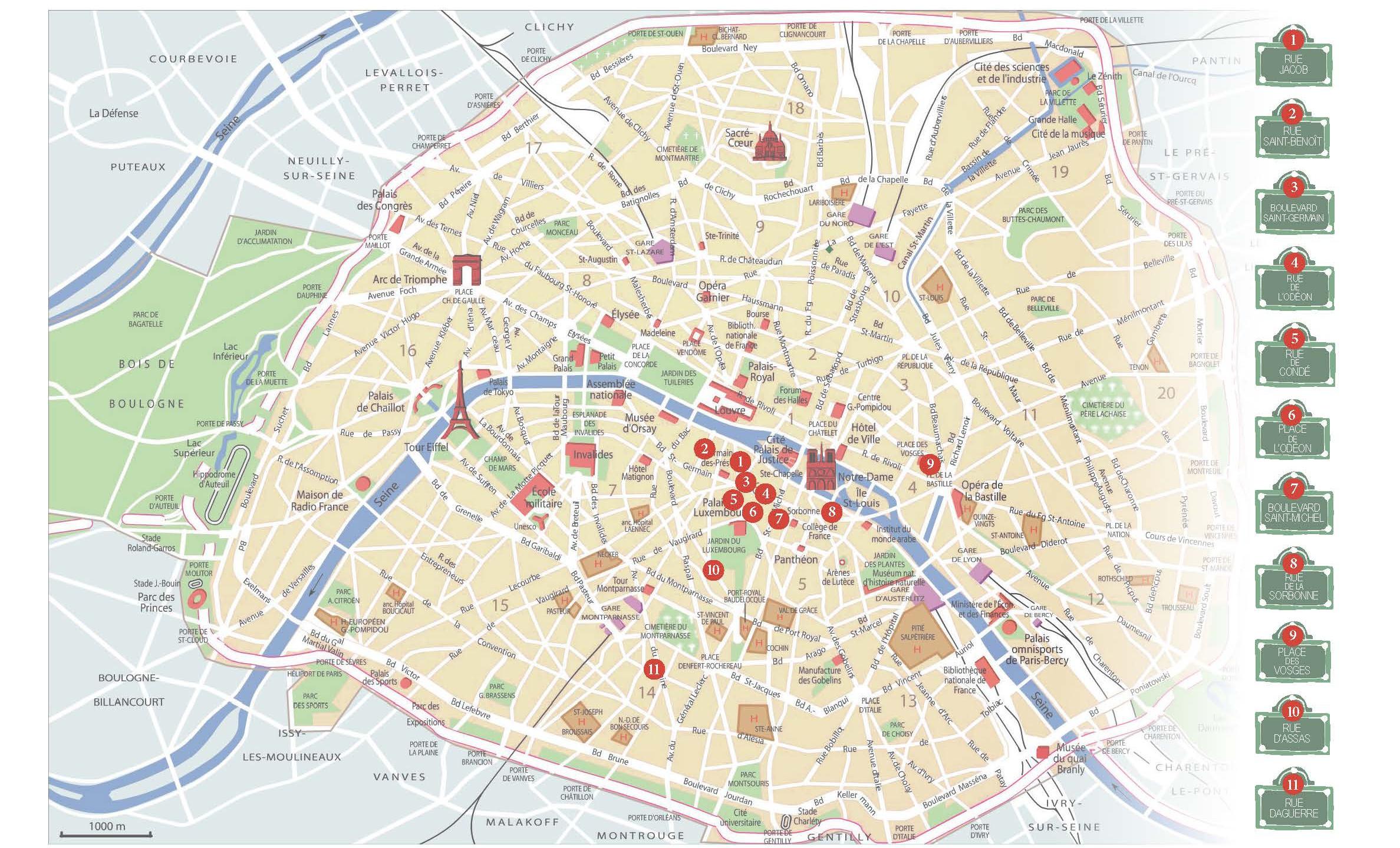 Mappa di Parigi per libro