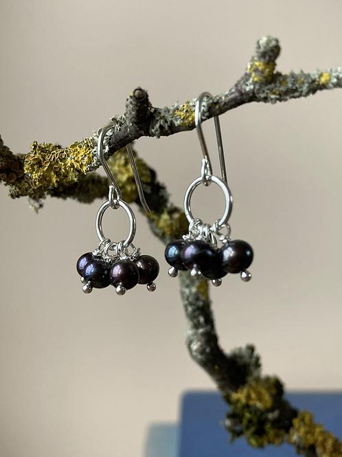Blackcurrant pearl earrings