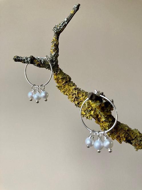 Snow berry pearl hoops
