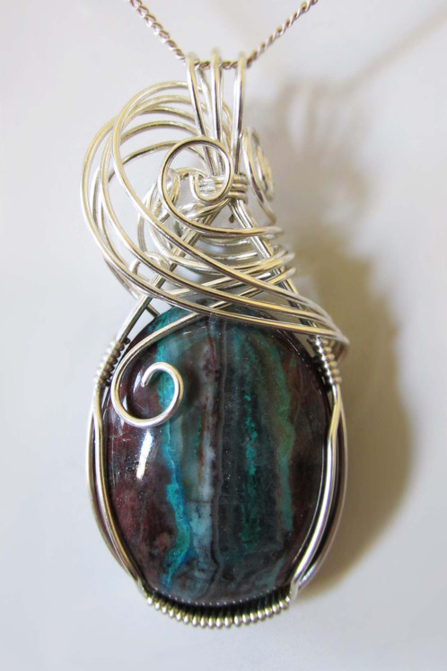 Chrysocolla pendant 182 zorias wire wrapped jewelry chrysocolla pendant wrapped in round argentium sterling silver wire mozeypictures Images