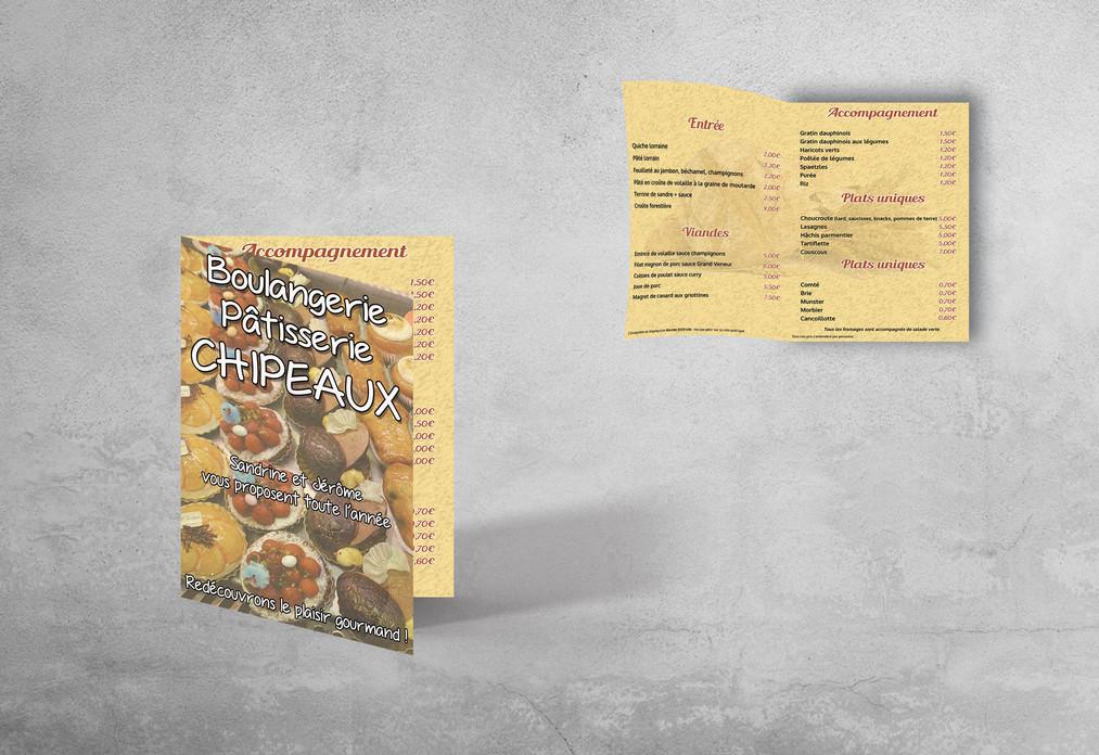 Dépliant A4 ouvert - Boulangerie Chipeaux