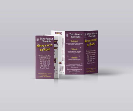 Dépliant A4 ouvert - 2 plis roulés - Entre Pains et Chocolat