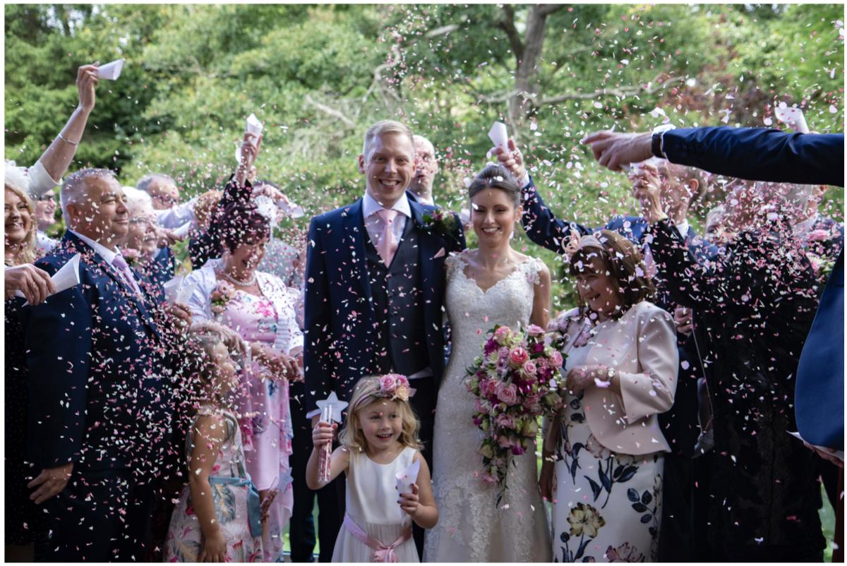 confetti photograph wedding mill barns