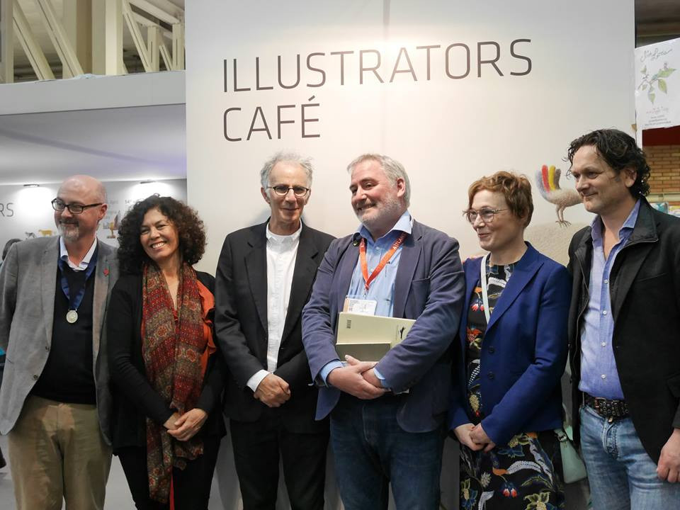 At the 2017 Bologna Children's Book Fair with laureates (L-R) from Ireland, Mexico, the United Kingdom, Sweden and the Netherlands