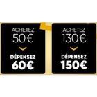 Carte cadeau Fnac / Darty de 60€ à 50€, et de 150€ à 130€